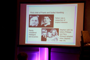 A slide from a Stephen Hawking presentation