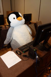 Penguin at a desktop